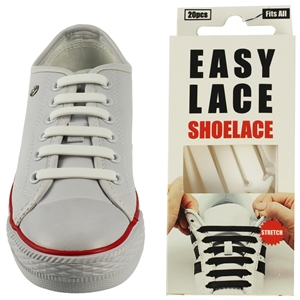 Easy Lace Silicone Shoelaces - Flat White - Box Of 20 Pieces