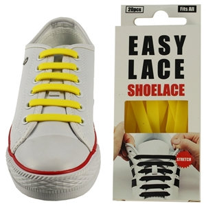 Easy Lace Silicone Shoelaces - Flat Yellow - Box Of 20 Pieces