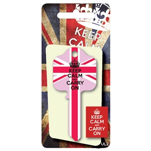 Licensed Keys - Keep Calm and Carry On, Union Jack - Pink