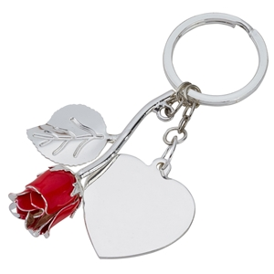 Silver Plated Red Rose Keyring and Heart Engraving Tag