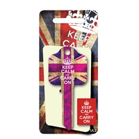 Licensed Keys - Keep Calm and Carry On, Union Jack - Purple