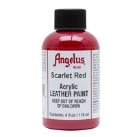 Angelus Acrylic Leather Paint 4 fl oz/118ml Bottle. Scarlet Red 190