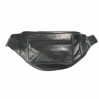 Leather Bumbag Black Zipped Sections With Adjustable Belt
