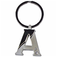 Alphabet Key Ring With Crystal Letter A