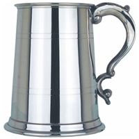 Georgian Handle Two Line One Pint Pewter Tankard