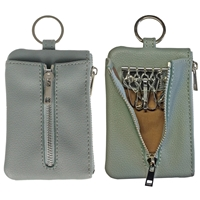 Faux Leather Light Grained Coin Purse with Key Case Dusky Blue