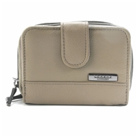 Cowhide Twin Zip Purse With Tab Pass Window Assorted RFID