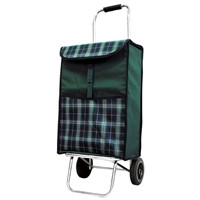 Balmoral 2 Wheel Shopping Trolley, Green With Tartan