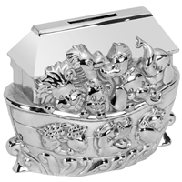 Noah's Ark Money Box Silver Plated. 10cm High