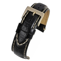 Black Padded High Grade Watch Strap Crocodile Grain With White Stitching 24mm