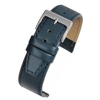 Blue Calf Watch Strap Matt Finish With a Stitched Edge 20mm