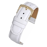 White Padded High Grade Watch Strap Classic Stitched 18mm