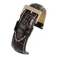 Brown Padded High Grade Watch Strap Crocodile Grain With White Stitching 20mm