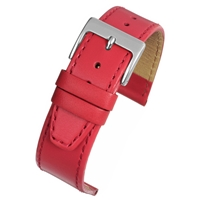 Red Calf Watch Strap Matt Finish With a Stitched Edge 20mm