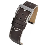 Brown With Cream Trim Watch Strap Modern Finish With a Contrasting Edge 20mm
