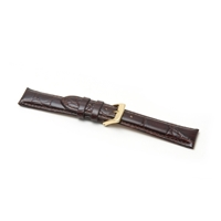 High Grade Crocodile Finished Nubuck Lining Watch Strap 22mm Brown Extra Long