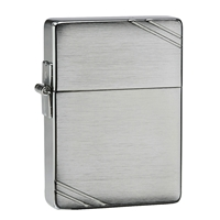 Zippo Brushed Chrome Lighter 1935 Replica With Slashes