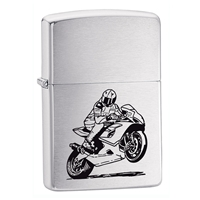 Zippo Brushed Chrome Lighter Motorcycle