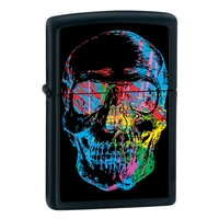 Zippo Black Matte Lighter - X-Ray Skull