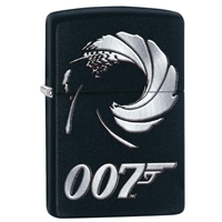 Zippo Lighter Black Matte James Bond, Gun Barrel
