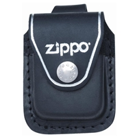 Zippo Black Leather Lighter Pouch With Loop LPLBK