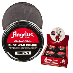Angelus Perfect Stain Wax Shoe Polish Extra Large 3 fl oz/88ml Brown