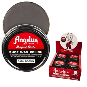Angelus Perfect Stain Wax Shoe Polish Extra Large 3 fl oz/88ml Dark Brown