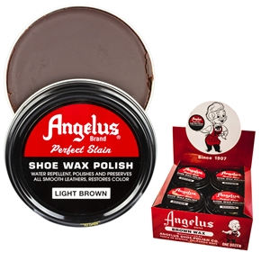 Angelus Perfect Stain Wax Shoe Polish Extra Large 3 fl oz/88ml Light Brown