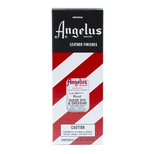 Angelus Suede Dye and Dressing, 3 fl oz/89ml Bottle. Rust