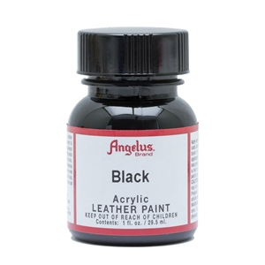 Angelus Acrylic Leather Paint 1 fl oz/30ml Bottle. Black 001