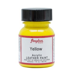 Angelus Acrylic Leather Paint 1 fl oz/30ml Bottle. Yellow 075