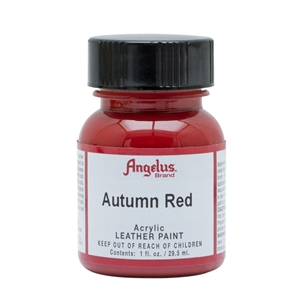 Angelus Acrylic Leather Paint 1 fl oz/30ml Bottle. Autumn Red 184