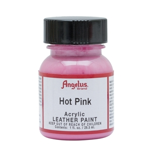 Angelus Acrylic Leather Paint 1 fl oz/30ml Bottle. Hot Pink 186