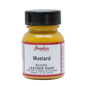 Angelus Acrylic Leather Paint 1 fl oz/30ml Bottle. Mustard 196