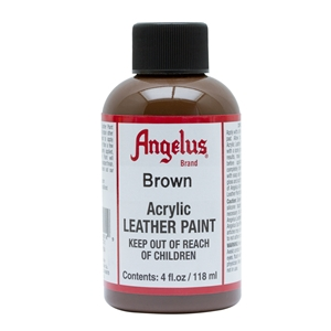 Angelus Acrylic Leather Paint 4 fl oz/118ml Bottle. Brown 014