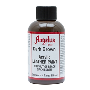 Angelus Acrylic Leather Paint 4 fl oz/118ml Bottle. Dark Brown 018