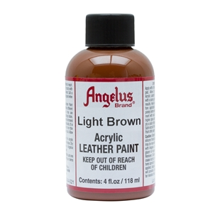 Angelus Acrylic Leather Paint 4 fl oz/118ml Bottle. Light Brown 021