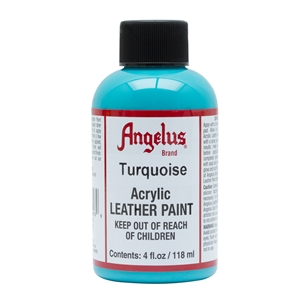 Angelus Acrylic Leather Paint 4 fl oz/118ml Bottle. Turquoise 043