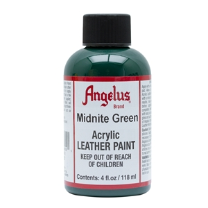 Angelus Acrylic Leather Paint 4 fl oz/118ml Bottle. Midnight Green 052