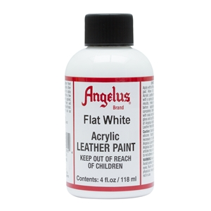 Angelus Acrylic Leather Paint 4 fl oz/118ml Bottle. Flat White 105