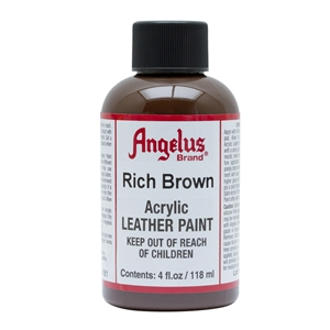 Angelus Acrylic Leather Paint 4 fl oz/118ml Bottle. Rich Brown 181