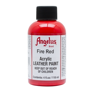 Angelus Acrylic Leather Paint 4 fl oz/118ml Bottle. Fire Red 185