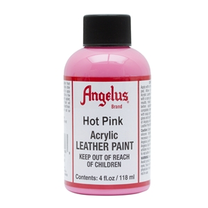 Angelus Acrylic Leather Paint 4 fl oz/118ml Bottle. Hot Pink 186