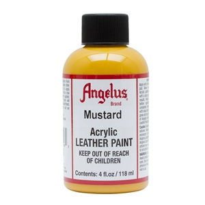 Angelus Acrylic Leather Paint 4 fl oz/118ml Bottle. Mustard 196