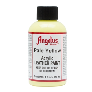 Angelus Acrylic Leather Paint 4 fl oz/118ml Bottle. Pale Yellow 197