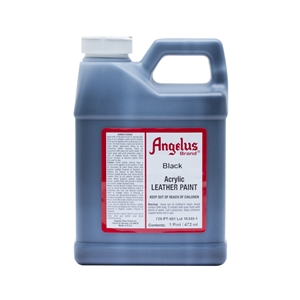 Angelus Acrylic Leather Paint Pint/473ml Bottle. Black 001