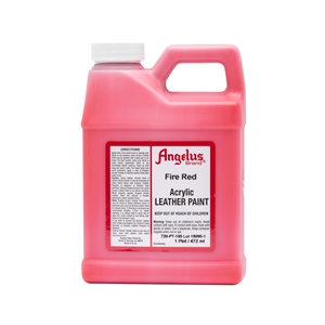 Angelus Acrylic Leather Paint Pint/473ml Bottle. Fire Red 185
