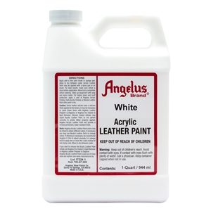 Angelus Acrylic Leather Paint Quart/946ml Bottle. Flat White 105