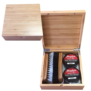 ANGELUS Plain Bamboo Shoe Shine Box, Small