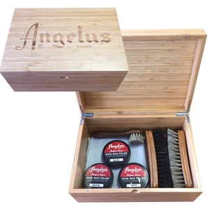ANGELUS  Lasered Bamboo Shoe Shine Box, Medium